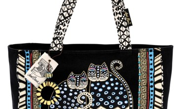 Elegant Black Laurel Burch Tote