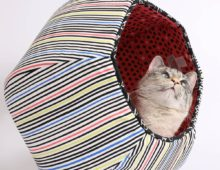 Cat Ball Cat Cave Bed in Bright Stripes