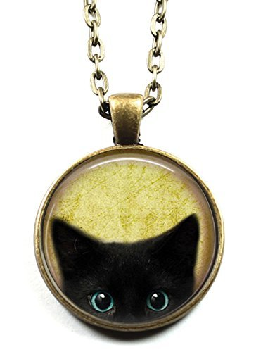 The Prettiest Black Cat Glass Pendant Necklace